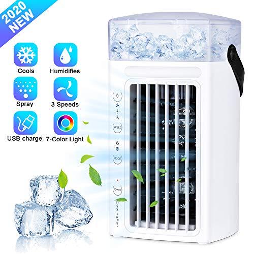 Ninonly Aire Acondicionado Portatil 3 en 1 Mini Enfriador de Aire, Ventilador Humidificador, Climatizador Evaporativo Ventilador con 3 Velocidades y 7 Colores LED Luz Hogar/Oficina (Blanco)