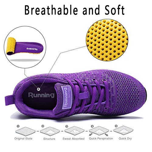 Women Purple Shoes Running Walking PENGCHENG Air Sport Tennis Men Lightweight Cushion Sneakers RZxPwO4Uqt