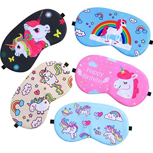Princess Eye Mask - Gejoy 5 Pieces Unicorn Sleeping Mask Blindfold Sleep Mask Eye Mask Cover for Men Women Kids