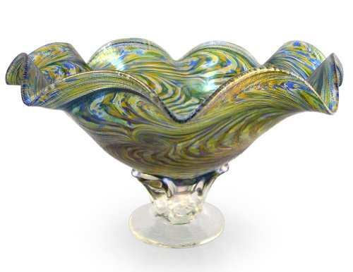 American Hand-Blown Fluted Art Glass Pedestal Bowl in Blue Green (Glass Fluted Shade)