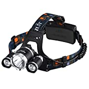 Amazon Lightning Deal 80% claimed: LED Headlamp, VicTsing 3000 Lumens Waterproof Flashlight with 3x CREE XM-L XML T6 Super Bright