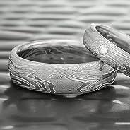 Men's Damascus Steel Domed Wedding Ring | TIDEP