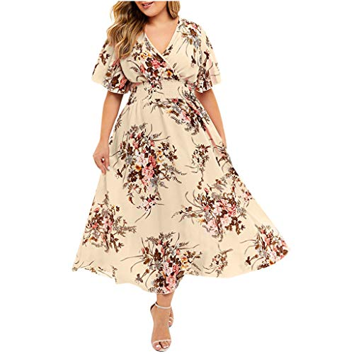 lotteQW Plus Size Fashion Women Floral Printed V-Neck Short Sleeve Casual Dress Womens Promotion Dress (Designer Outlet New Jersey)