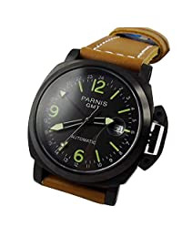Whatswatch 44mm Parnis black dial GMT date automatic black PVD mens military watches PA-005