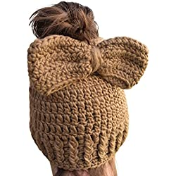 Womens Crochet Messy Bun Beanie Slouchy Style with Hole for Ponytail Hat with Crochet Bow On Beanie (Taupe/Brown)