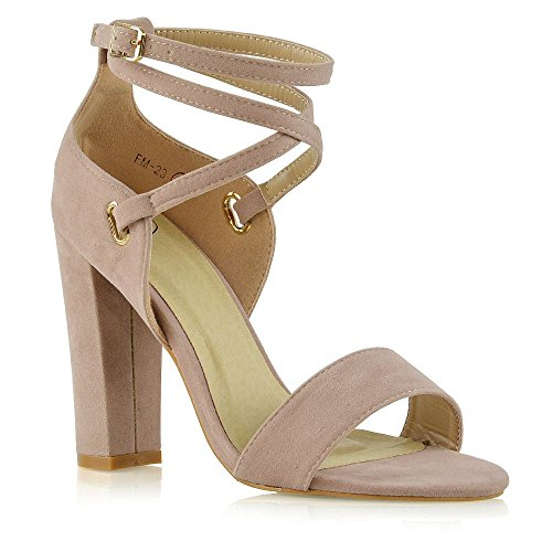 ESSEX GLAM Womens Ankle Strap Heels Block Open Toe Evening Party Shoes Nude Faux Suede VlK1ShaJ