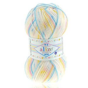 Baby–/Niños–Ovillo Alize sekerim Bebe, 100g, color 505Pastel–Color Blanco