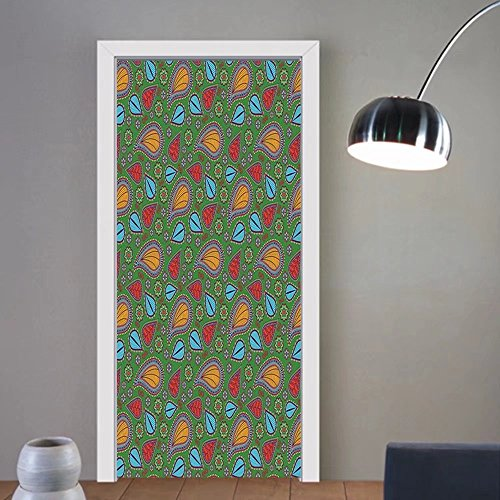 Gzhihine custom made 3d door stickers Indian Ethnic Image with Swirls Floral Details Paisley Decor Fern Green Backdrop Art Print Multicolor For Room Decor (Fern Swirl)