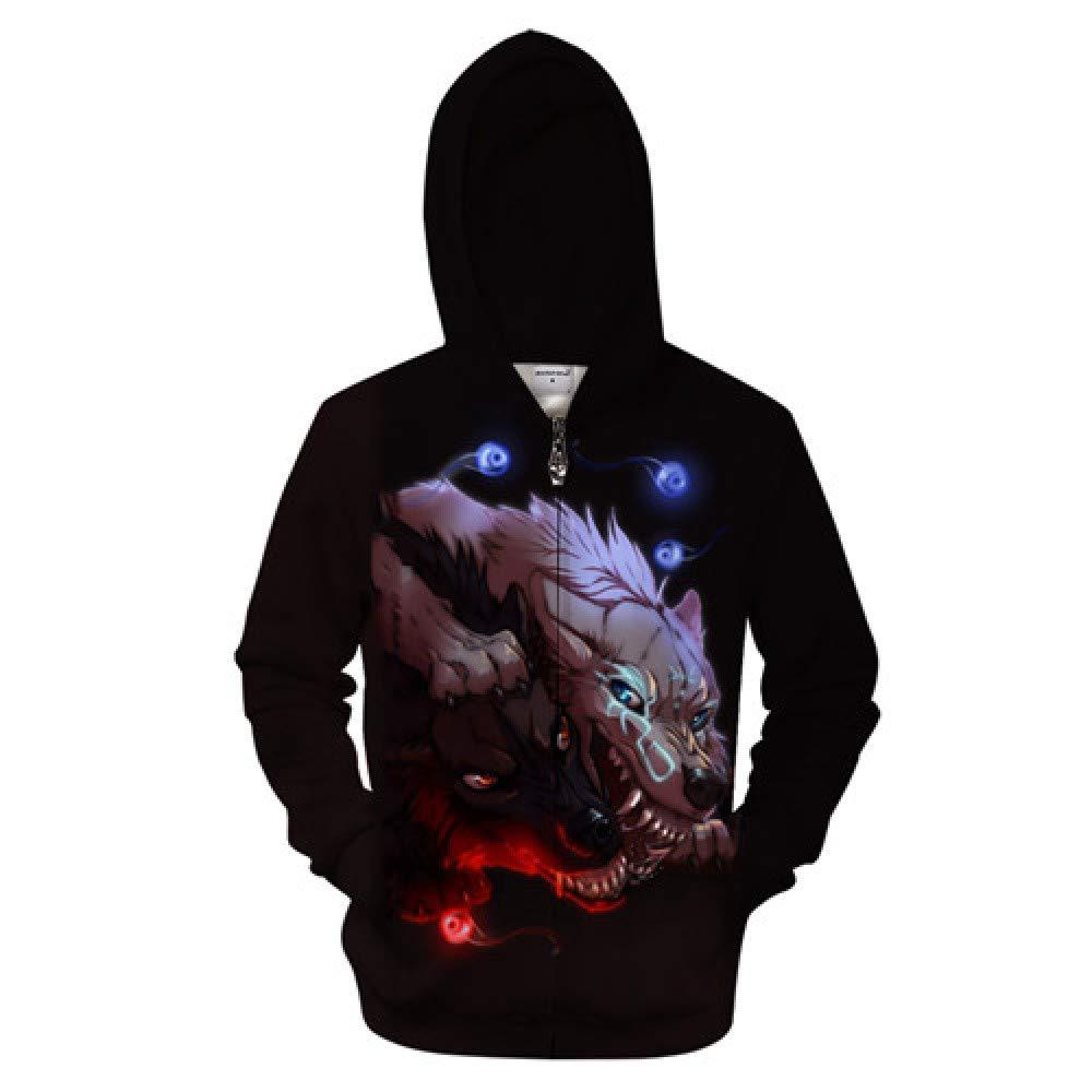ZIP604 L WDDGPZWY Hoodie Kapuzenpul r Sweatshirt Tier Zip Hoodies Wolf Sweatshirts Männer Lustige Hoody 3D Zipper Trainingsanzug Streetwear Mantel 6XL Mit Kapuze