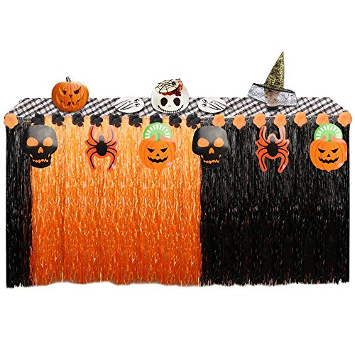 Urbebe 108'' X29'' Halloween Decorative Table Skirt, Artificial Grass Hawaiian Style Table Skirt with 4 Pumpkins, 4 Spiders, 4 Skulls Pendant, Great for Party Decorations -