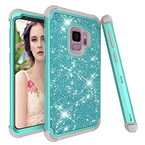 Uliking Galaxy S9+ Case,Three Layers Hard PC Soft Silicone Rubber Glitter Bling Shine Luxury Heavy Duty Shockproof Bumper Protective Cover Case for Samsung Galaxy S9+,Aqua Grey (Bling Grey Basic)