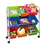Seville Classics Mobile Toy Storage Organizer, 9-Bins in Fun Colors