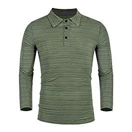 iWoo Mens Polo Shirts Long Sleeve t Shirts Mens Dry Fit T-Shirts Casual Striped Collar Golf Tops Shirts