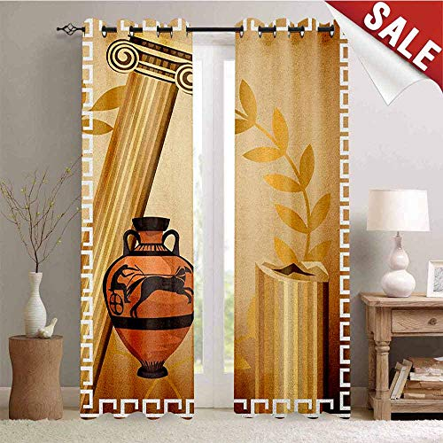 Toga Party Waterproof Window Curtain Antique Greek Columns Vase Olive Branch Hellenic Heritage Icons Room Darkening Wide Curtains W72 x L108 Inch Pale Brown Cinnamon White