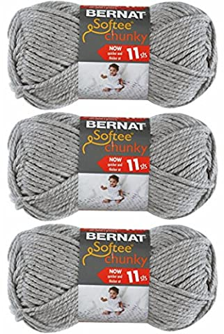 Bernat Softee Chunky Yarn, Super Bulky #6, 3 Skeins Grey Heather 28046 Bundle