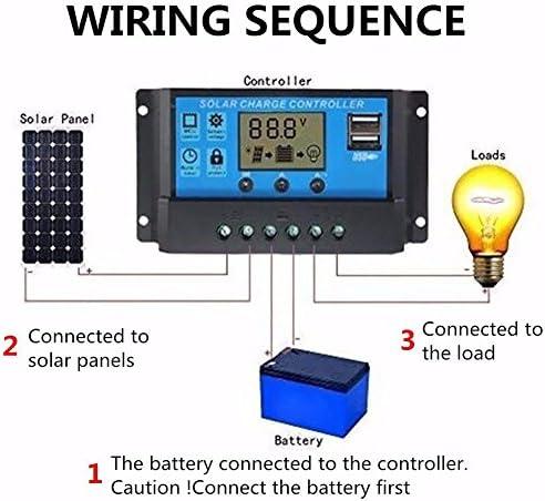 LUNAH Solar System Controller 4 Stage 10/20/30 A Speicherfunktion Wiederaufladbare automatische Rückstromschutz-Anzeige für Digitalanzeige Timer-Leuchte mit geringer Wärmeerzeugung(10 A)