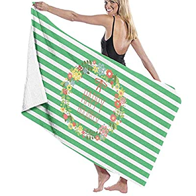 BAGT Luxury Oversized Beach Towels, Wreath TXT Happy Holiday Prints Bath Towel Wrap Womens Spa Shower and Wrap Towels Swimming Bathrobe Cover Up for Ladies Girls - White