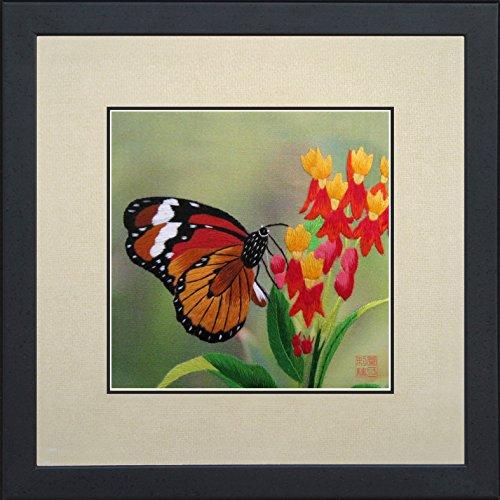 King Silk Art 100% Handmade Embroidery Framed Brown Monarch