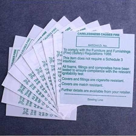 25x sew in fire regulation safety labels Upholstery DOES NOT INCLUDE INTERLINER