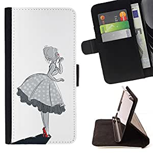 Momo Phone Case / Flip Funda de Cuero Case Cover - Fille Femme Noir Blanc - Motorola Moto E ( 1st Generation )