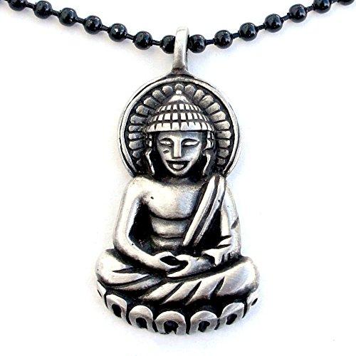 OhDeal4U Thai Buddha Amulet Buddhism Buddhist Pewter Pendant W Black Ball Chain ()