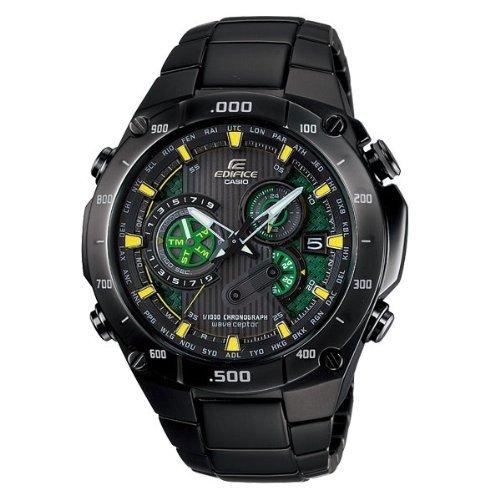 Casio Edifice Chronograph Alarm - Men's Edifice Black Label Solar Multi-Band Atomic Alarm Chronograph Link Bracelet
