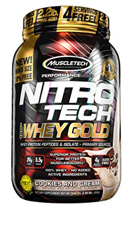 MuscleTech NitroTech Whey Gold, 100% Whey Protein Powder, Wh