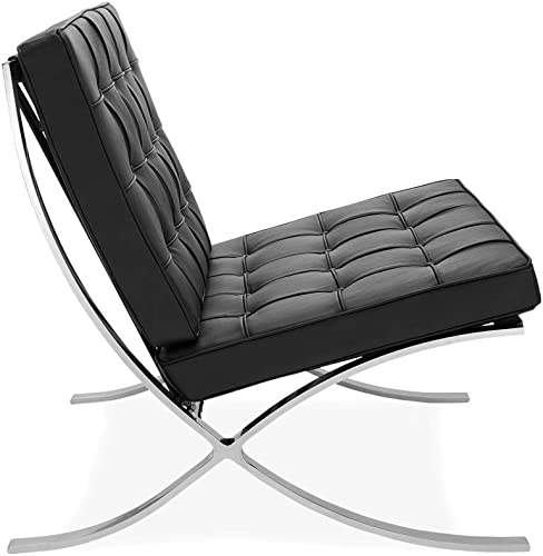ModStone – Barcelona Pavilion Lounge Reception Love Seat Chair and Ottoman Black Top Grain Leather by Mies Ven Der Rohe