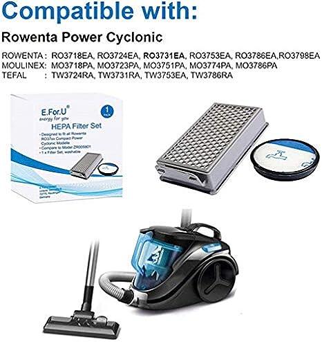 Kit de filtros de repuesto para aspiradora Rowenta/Moulinex/Tefal Compact Power Cyclonic, kit de piezas para aspiradora accesorios (alternativa a ZR005901): Amazon.es: Hogar
