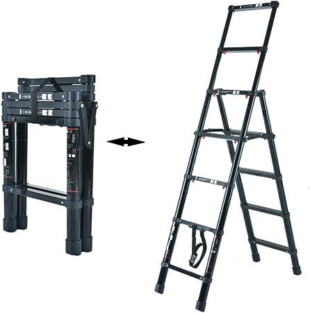 XSJZ Escaleras telescópicas Escalera Telescópica, Escalera Portátil de Aleación de Aluminio, Pasamanos Elevado de Doble Capa, Adecuada para Escaleras Mecánicas para Escalar Al Aire Libre Escalera pleg: Amazon.es: Hogar