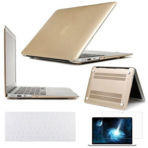 Frosted Case Hardshell - New Arrival Luxury Gold Air 11-Inch 3 in 1 Rubberized Frosted Hardshell Case Cover for MacBook Air 11.6