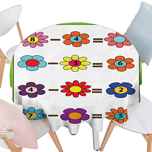 longbuyer Wrinkle Free Tablecloths Math Educational Game for Children Counting Equations Subtraction worksheet Round Tablecloth D 54