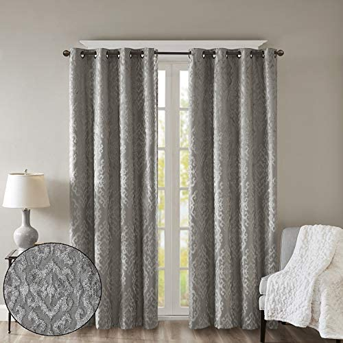 SUNSMART Mirage 100 Total Blackout Window Curtain, Knitted Jacquard Damask Room Darkening Curtains Panel with Grommet Top, 50×108, Charcoal
