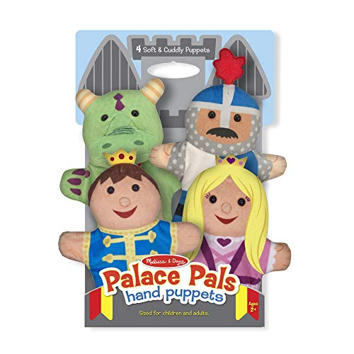 Melissa & Doug Palace Pals Hand Puppets, Puppet Sets, Prince, Princess, Knight, and Dragon, Soft Plush Material, Set of 4, 14
