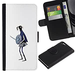 Stuss Case / Funda Carcasa PU de Cuero - 3D Chica Warrior Espada Escudo Arte Dibujo - Apple Iphone 5 / 5S