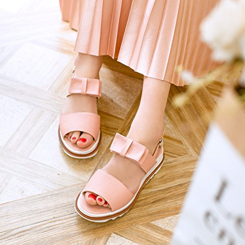 Carolbar Womens Bows Buckle Cute Casual Comfort Flats Sandals Pink 0zYtXokMnE