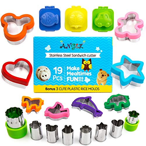 Cookie Cutters For Kids, Stainless Steel, Set of 19 - Sandwich Cutters for Boys and Girls - Fun, Colorful Animal Shapes - Decorating and Baking Supplies for Birthday, Christmas, Baby ()
