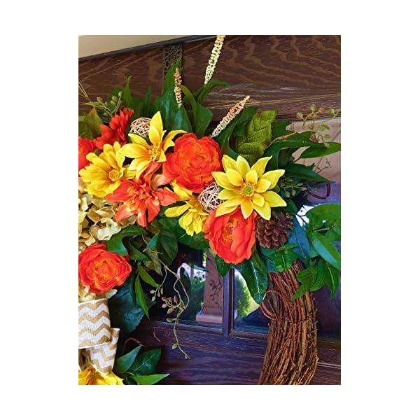 Large Yellow Orange Grapevine Wreath Hydrangea Dahlia Zinnia Ranunculus Peony Spring Summer Flowers