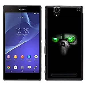 "For Sony Xperia T2 Ultra , S-type Verde Cráneo Ojos"" - Arte & diseño plástico duro Fundas Cover Cubre Hard Case Cover"