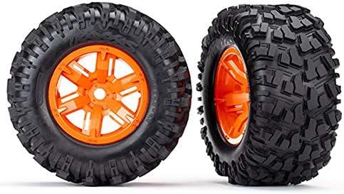 Traxxas TRA7772T タイヤ&ホイール 組み立て 接着 (X-Maxx オレンジホイール タイヤのMaxx フォーム