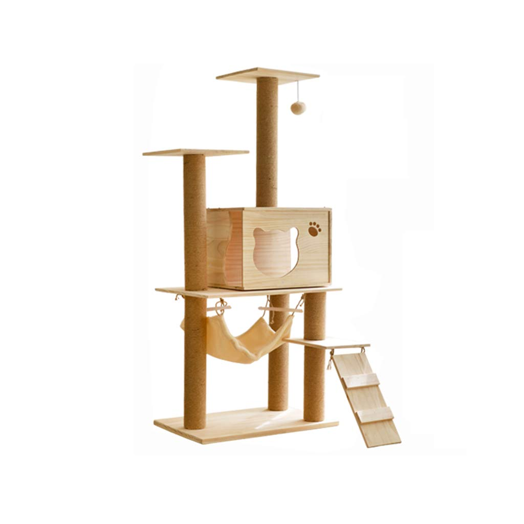 Natural 40cm60cm140cm Natural 40cm60cm140cm Siler Cat Tree, Large Wooden Cat Climbing Frame Cat House Hammock Activity Center Cat Scratch Board SL-013 (color   Natural, Size   40cm60cm140cm)