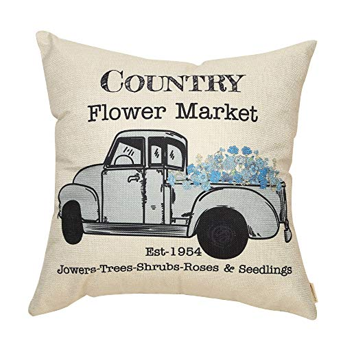 Fahrendom Vintage Country Flower Market Floral Truck Rustic Farmhouse Style Spring Summer Sign Cotton Linen Home Decorative Throw Pillow Case Cushion Cover with Words for Sofa Couch, 18 x 18 in