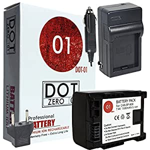 DOT-01 Brand 1500 mAh Replacement Canon BP-808 Battery and Charger for Canon HF200 Camcorder and Canon BP808
