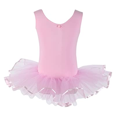 PINKDAA Girl Gymnastics Leotard Short Sleeve Ballet Dress