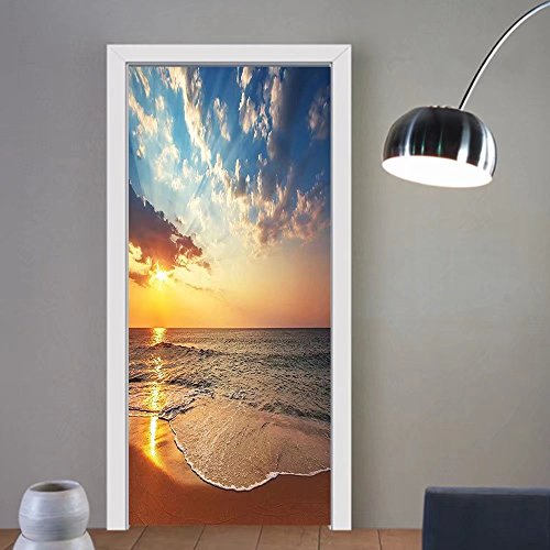 Gzhihine custom made 3d door stickers LaUIFcape Ocean Decor Cloudscape over the Sea Honeymoon Travel Destination Sunrise Panoramic Shot Blue Yellow Brown For Room Decor 30x79 by Gzhihine