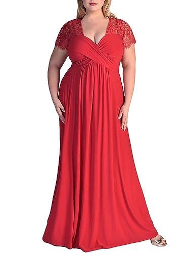 Gloria&Sarah Women's Wrap Ruched Front Plus Size Maxi Dress