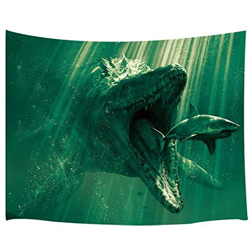 Dinosaur Wall Hangings - KOTOM Marine Life Dinosaurs Decor Tapestry, Prehistoric Animals Shark and Mosasaurus, Wall Art Hanging for Bedroom Living Room Dorm 71X60Inches Wall Blankets