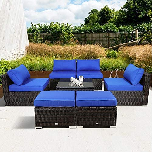 Outime Outside Patio Furniture Brown Rattan Sofa Wicker Sectional Sofa Set Conversation Set Garden Couch Royal Blue Cushion 7pc