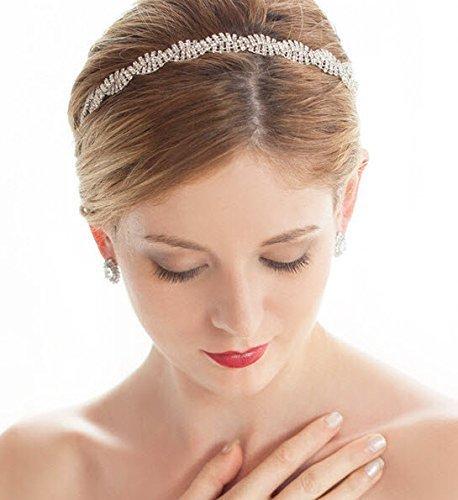 Petite Intertwined Silver Rhinestone Bridal Headband by AMY O ()