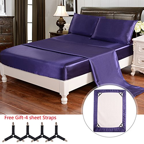 Friends Full Sheet Set - HollyHOME Silky Soft Luxury 4 Piece Deep Pocket Full Satin Sheet Set, Free Fitted Sheet Straps Included, Purple